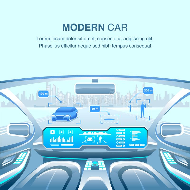 Σύγχρονη άποψη Driverless αυτοκινήτων επίσης corel σύρετε το διάνυσμα απεικόνισης ελεύθερη απεικόνιση δικαιώματος