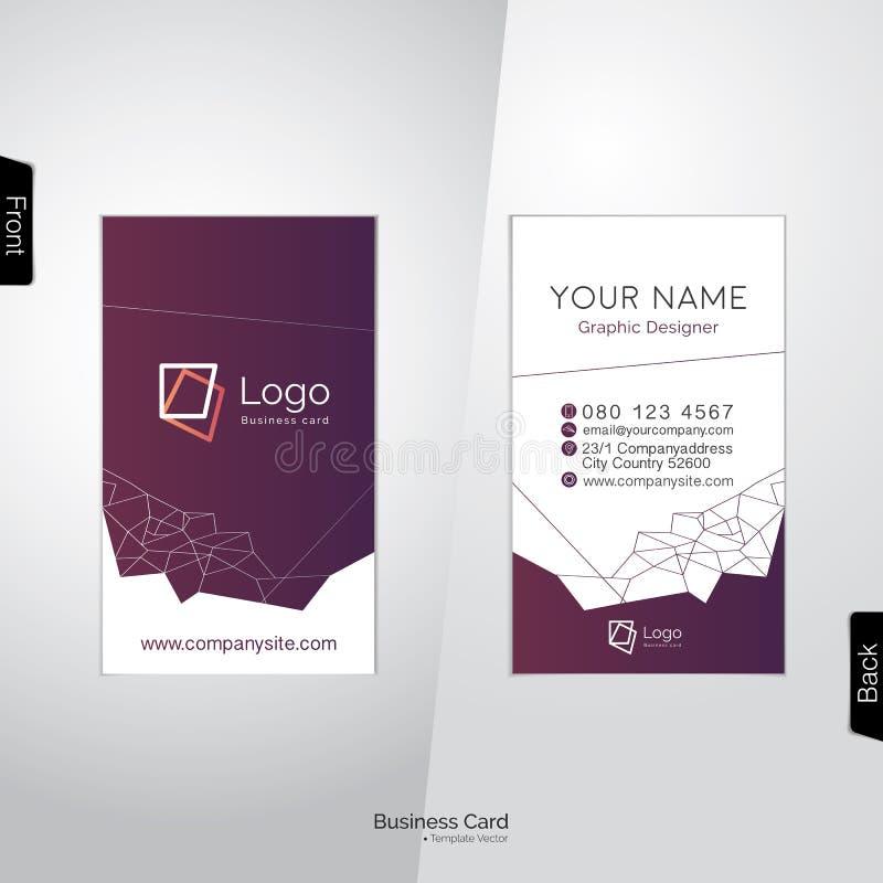 Σύγχρονη άσπρη και σκοτεινή πορφυρή κάθετη επαγγελματική κάρτα ελεύθερη απεικόνιση δικαιώματος