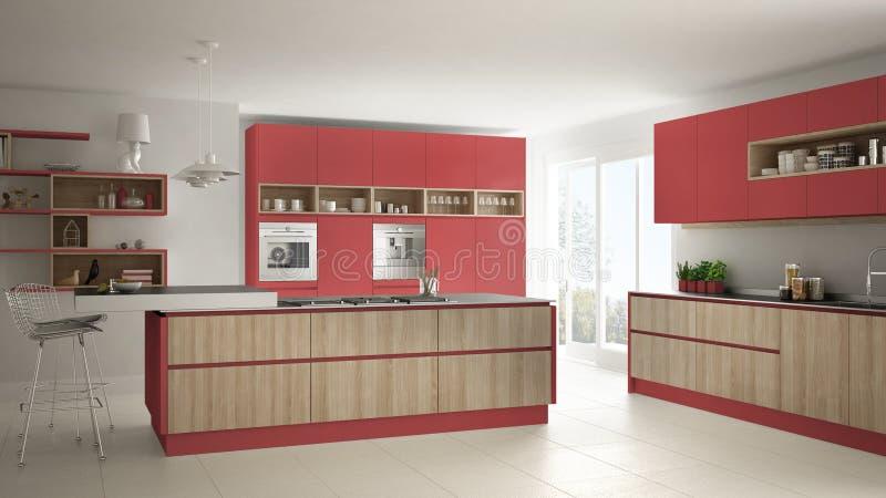 Σύγχρονη άσπρη κουζίνα με τις ξύλινες και κόκκινες λεπτομέρειες, minimalistic ι ελεύθερη απεικόνιση δικαιώματος