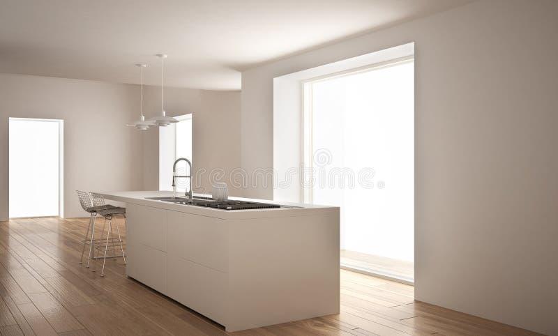 Σύγχρονη άσπρη κουζίνα με το νησί και το μεγάλο παράθυρο, μινιμαλιστικό εσωτερικό αρχιτεκτονικής διανυσματική απεικόνιση