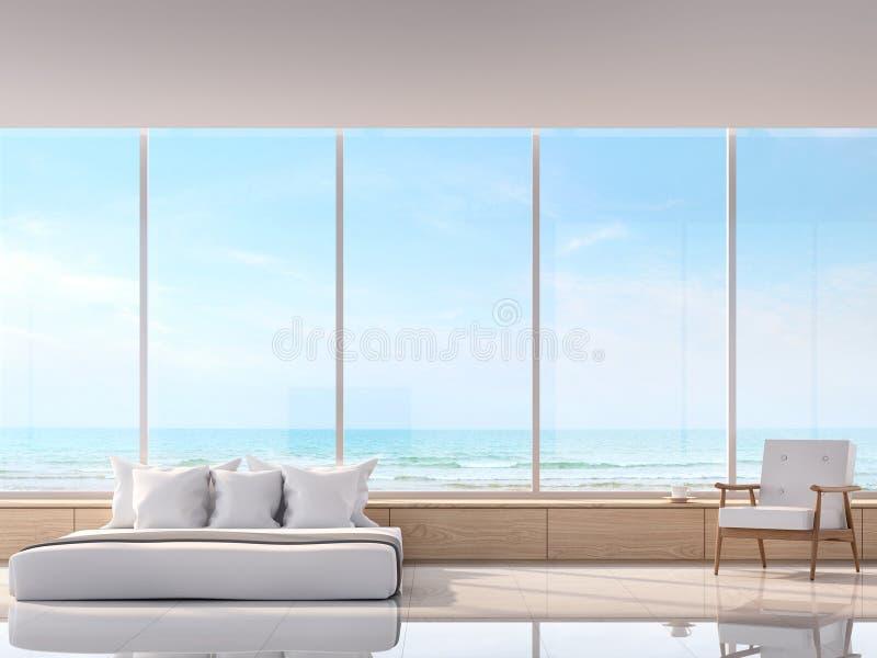 Σύγχρονη άσπρη κρεβατοκάμαρα με την τρισδιάστατη δίνοντας εικόνα άποψης θάλασσας Υπάρχει μεγάλο παράθυρο αγνοεί στην άποψη θάλασσ απεικόνιση αποθεμάτων