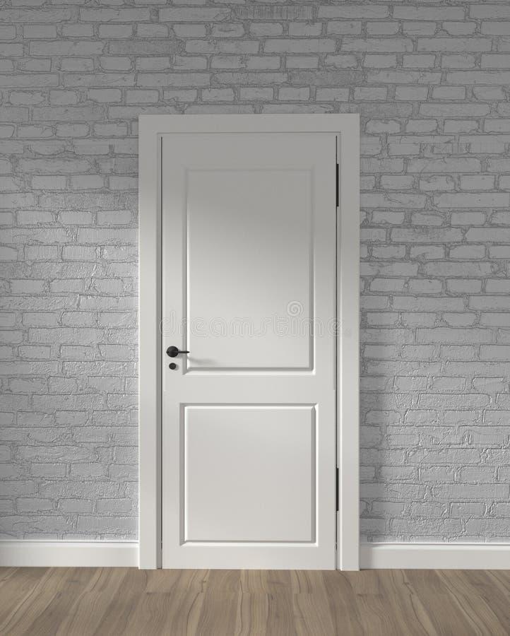 Σύγχρονη άσπρη πόρτα σοφιτών και άσπρος τουβλότοιχος στο ξύλινο πάτωμα r απεικόνιση αποθεμάτων