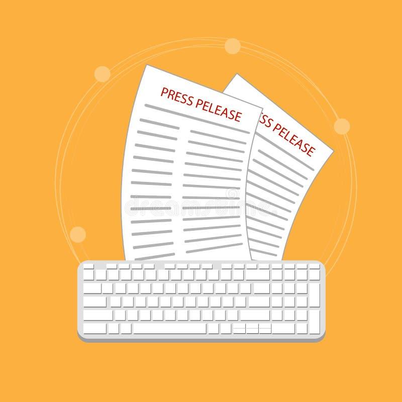 Σύγχρονη έννοια δελτίου τύπου για τον Ιστό, σε απευθείας σύνδεση ειδήσεις Επίπεδο σχέδιο ελεύθερη απεικόνιση δικαιώματος