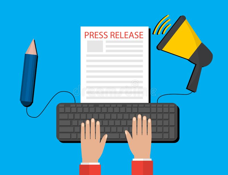 Σύγχρονη έννοια δελτίου τύπου για τον Ιστό, σε απευθείας σύνδεση ειδήσεις Επίπεδο σχέδιο απεικόνιση αποθεμάτων
