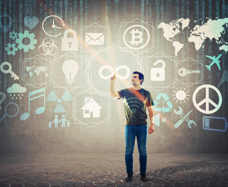 Σύγχρονη έννοια τεχνολογίας, εικονικές υπηρεσίες επιχείρησης απεικόνιση αποθεμάτων