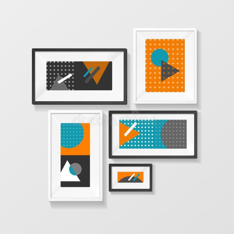 Σύγχρονη ένωση συνόλου πλαισίων εικόνων στον τοίχο διάνυσμα διανυσματική απεικόνιση