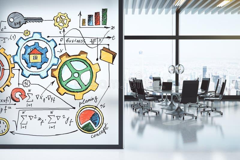 Σύγχρονη αίθουσα συνδιαλέξεων με το σχέδιο επίπλων και επιχειρήσεων concep στοκ εικόνες