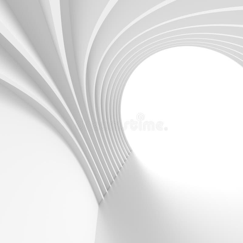 Σύγχρονη ανασκόπηση αρχιτεκτονικής Άσπρο κυκλικό κτήριο ελάχιστος ελεύθερη απεικόνιση δικαιώματος