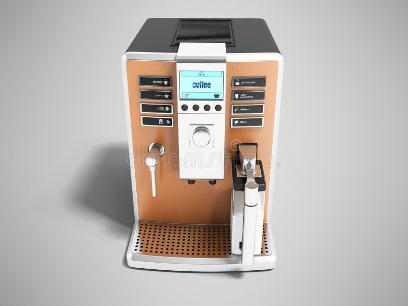Σύγχρονη ανοικτό καφέ μηχανή καφέ καραφών με το διανομέα γάλακτος επάνω απεικόνιση αποθεμάτων