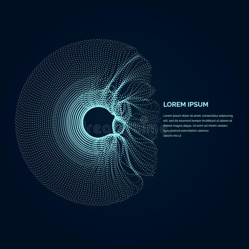 Σύγχρονη απεικόνιση με μια παραμορφωμένη μορφή κύκλων των μορίων διανυσματική απεικόνιση