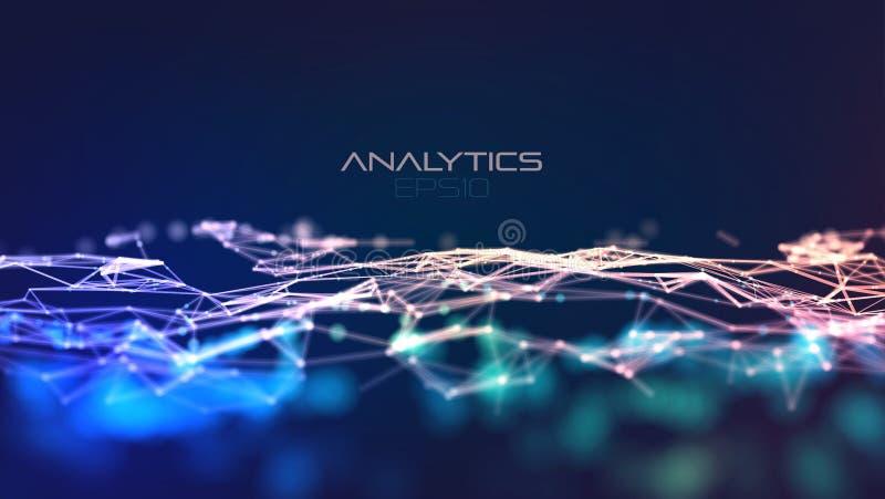 Σύγχρονη απεικόνιση με το πλέγμα στο ελαφρύ υπόβαθρο Αφηρημένο μπλε τεχνολογίας E Έννοια σύνδεσης στοιχείων ελεύθερη απεικόνιση δικαιώματος