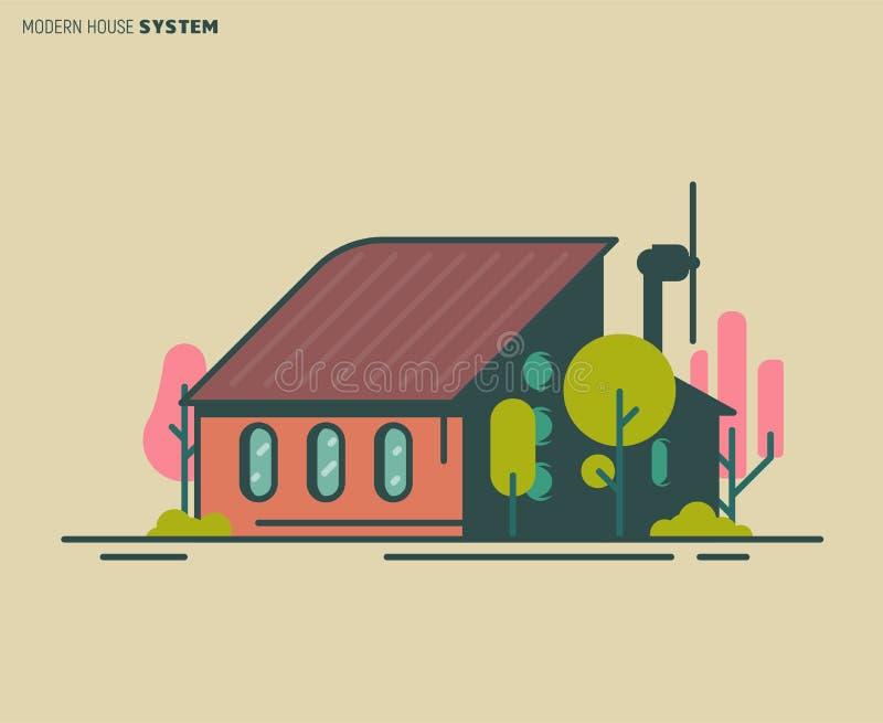 Σύγχρονη απεικόνιση σπιτιών διανυσματική απεικόνιση