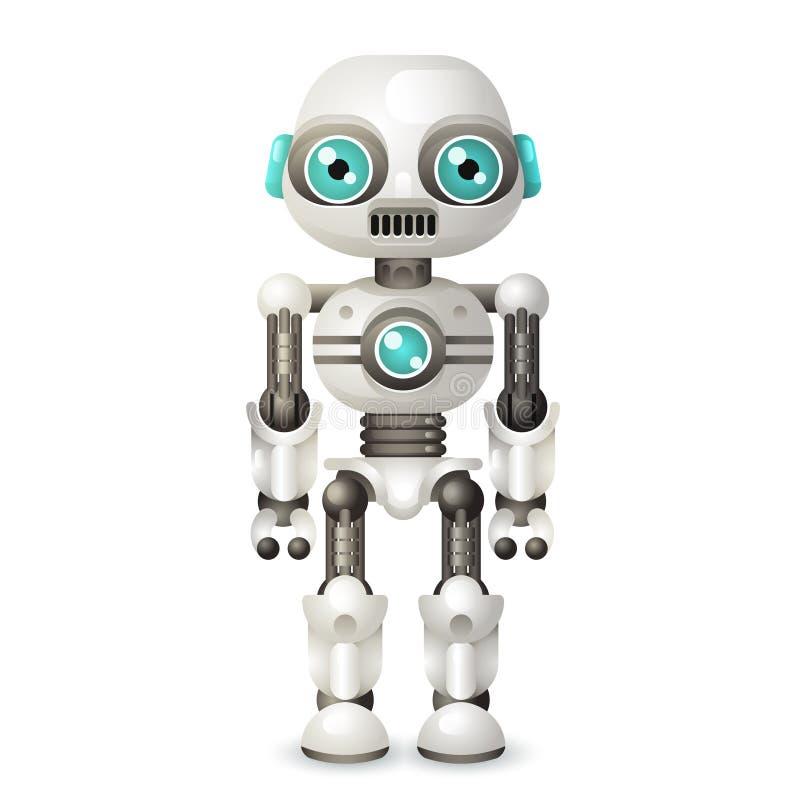 Σύγχρονη αρρενωπή τεχνητή νοημοσύνη χαρακτήρα ρομπότ που απομονώνεται στο άσπρο διάνυσμα εικονιδίων σχεδίου υποβάθρου τρισδιάστατ ελεύθερη απεικόνιση δικαιώματος