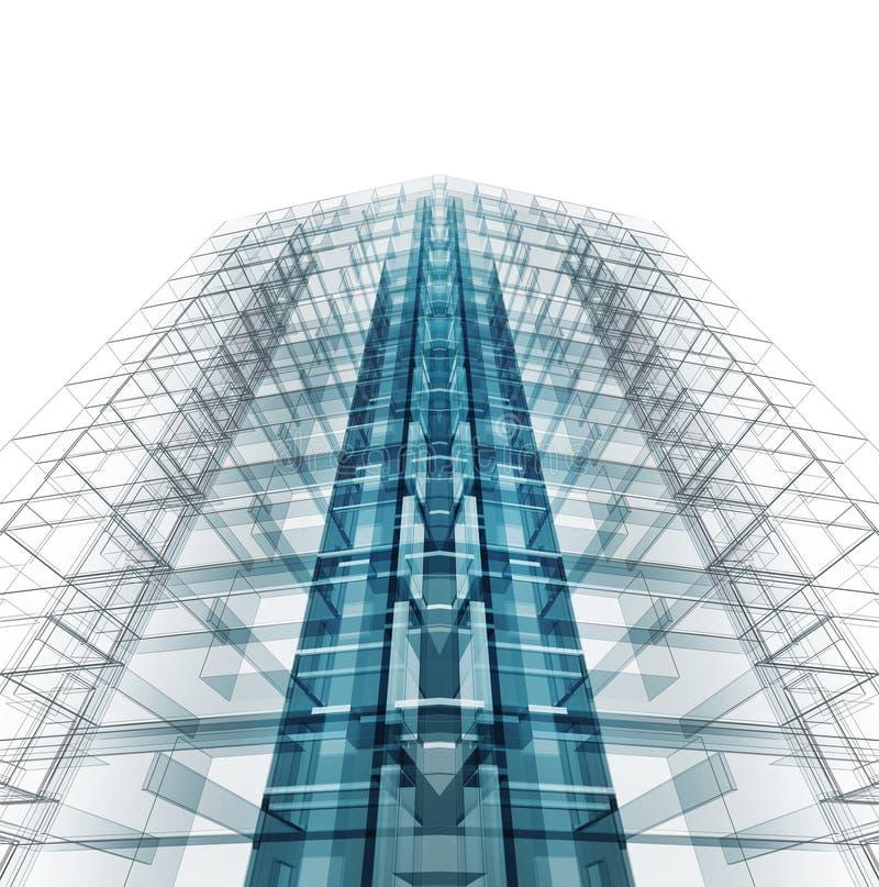 Σύγχρονη αρχιτεκτονική κατασκευής τρισδιάστατη απόδοση ελεύθερη απεικόνιση δικαιώματος