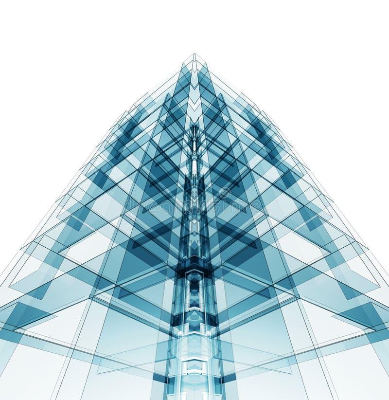 Σύγχρονη αρχιτεκτονική κατασκευής τρισδιάστατη απόδοση διανυσματική απεικόνιση