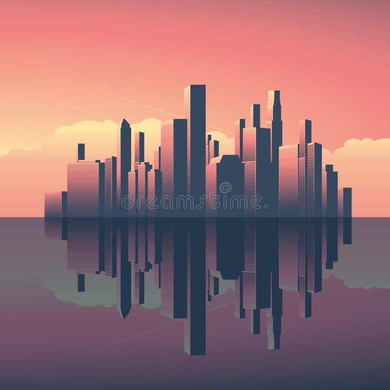 Σύγχρονη αστική εικονική παράσταση πόλης κατά τη διάρκεια της ανατολής ή του ηλιοβασιλέματος Ουρανοξύστες το βράδυ, φως πρωινού μ διανυσματική απεικόνιση