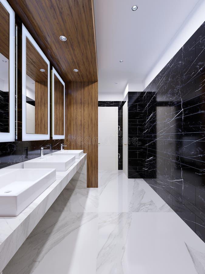 Σύγχρονη δημόσια τουαλέτα στο σύγχρονο ύφος με μια ξύλινη θέση και μαύρους μαρμάρινους τοίχους διανυσματική απεικόνιση