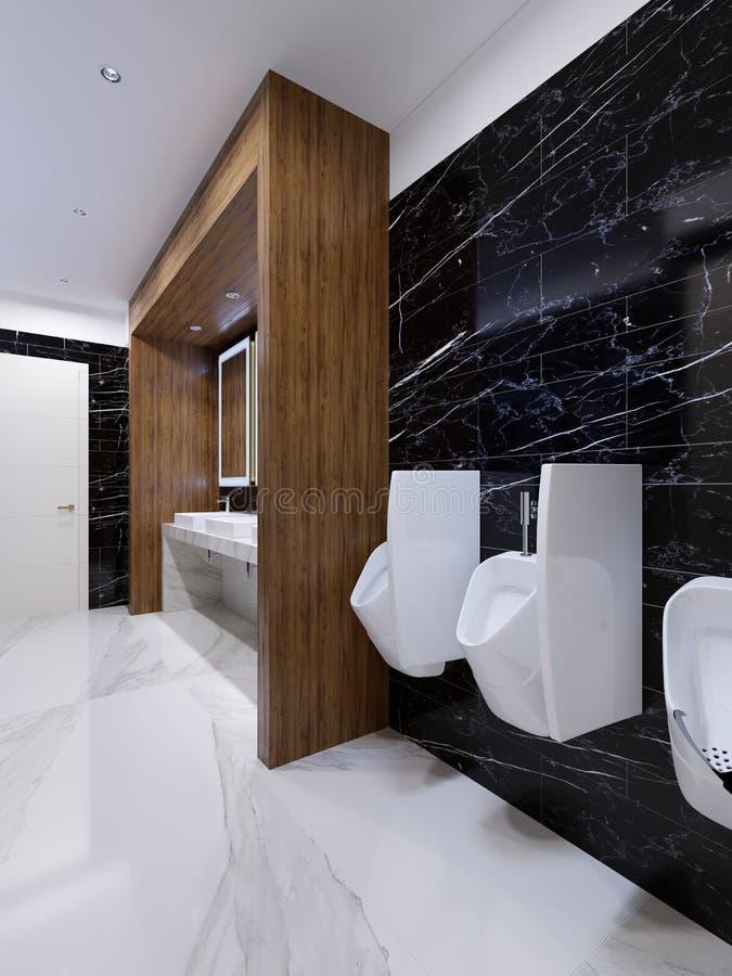 Σύγχρονη δημόσια τουαλέτα στο σύγχρονο ύφος με μια ξύλινη θέση και μαύρους μαρμάρινους τοίχους ελεύθερη απεικόνιση δικαιώματος