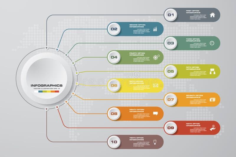 Σύγχρονη διαδικασία 10 βημάτων Αφηρημένο στοιχείο σχεδίου Simple&Editable ελεύθερη απεικόνιση δικαιώματος