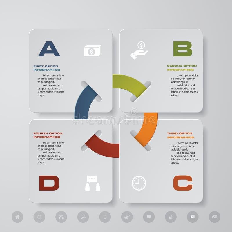 Σύγχρονη διαδικασία 4 βημάτων Αφηρημένο στοιχείο σχεδίου Simple&Editable διανυσματική απεικόνιση