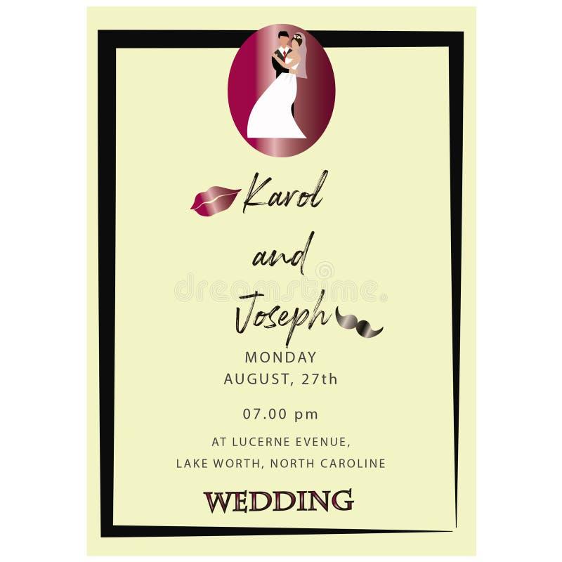 Σύγχρονη εκλεκτής ποιότητας κάρτα 2019 γαμήλιας πρόσκλησης διανυσματική απεικόνιση