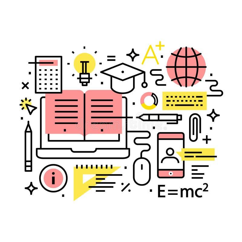 Σύγχρονη εκπαίδευση και σε απευθείας σύνδεση έννοια εκμάθησης διανυσματική απεικόνιση