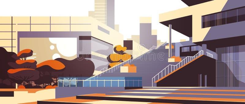Σύγχρονη εξωτερική άποψη σκαλοπατιών κτιρίου γραφείων πέρα από το οριζόντιο επίπεδο υποβάθρου εικονικής παράστασης πόλης κτηρίων  απεικόνιση αποθεμάτων