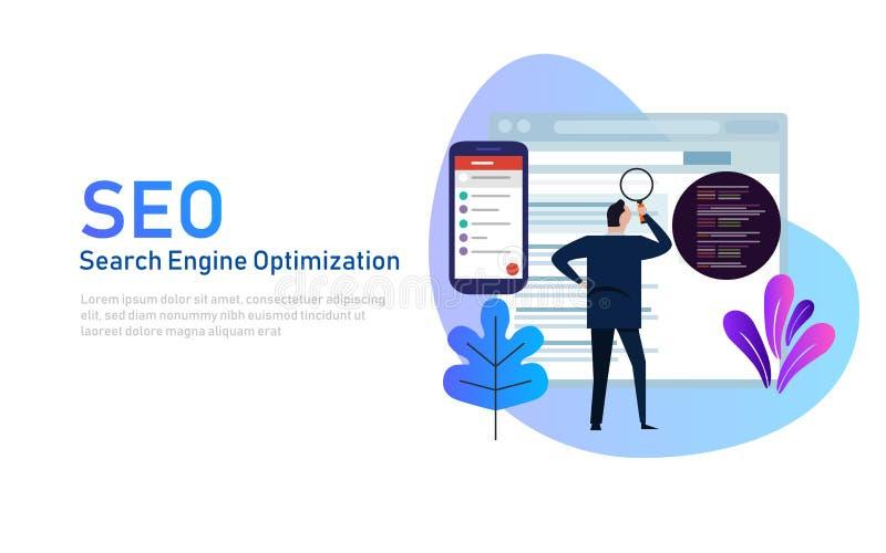 Σύγχρονη επίπεδη έννοια σχεδίου της βελτιστοποίησης μηχανών αναζήτησης SEO για τον ιστοχώρο και τον κινητό ιστοχώρο Προσγειωμένος απεικόνιση αποθεμάτων