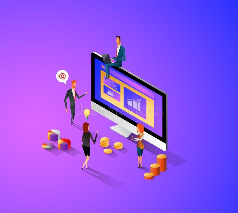 Σύγχρονη επίπεδη isometric έννοια σχεδίου Manage τα στοιχεία σας για τον ιστοχώρο και τον κινητό ιστοχώρο Προσγειωμένος πρότυπο σ διανυσματική απεικόνιση