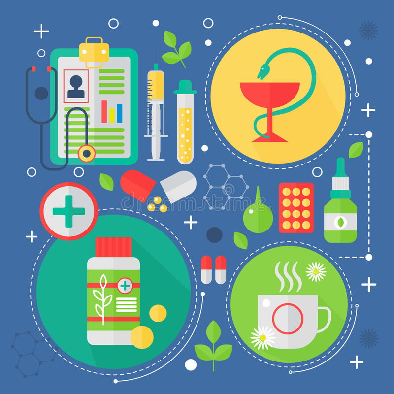 Σύγχρονη επίπεδη έννοια ιατρικής και υπηρεσιών υγειονομικής περίθαλψης Ιατρικό σχέδιο infographics διαγνωστικών τεχνολογίας φαρμα ελεύθερη απεικόνιση δικαιώματος