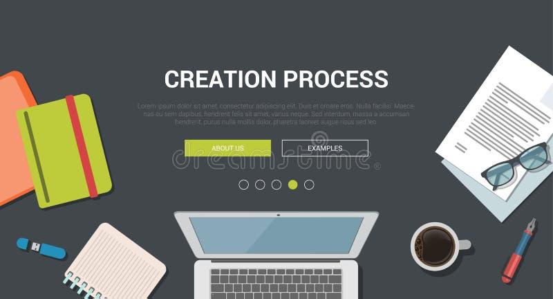 Σύγχρονη επίπεδη έννοια σχεδίου προτύπων για τη δημιουργική διαδικασία δημιουργιών ελεύθερη απεικόνιση δικαιώματος