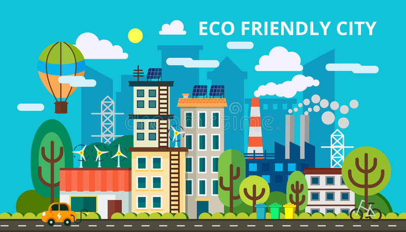 Σύγχρονη επίπεδη έννοια σχεδίου της έξυπνης πράσινης πόλης Φιλική πόλη Eco, παραγωγή και πράσινη ενέργεια αποταμίευσης διάνυσμα ελεύθερη απεικόνιση δικαιώματος