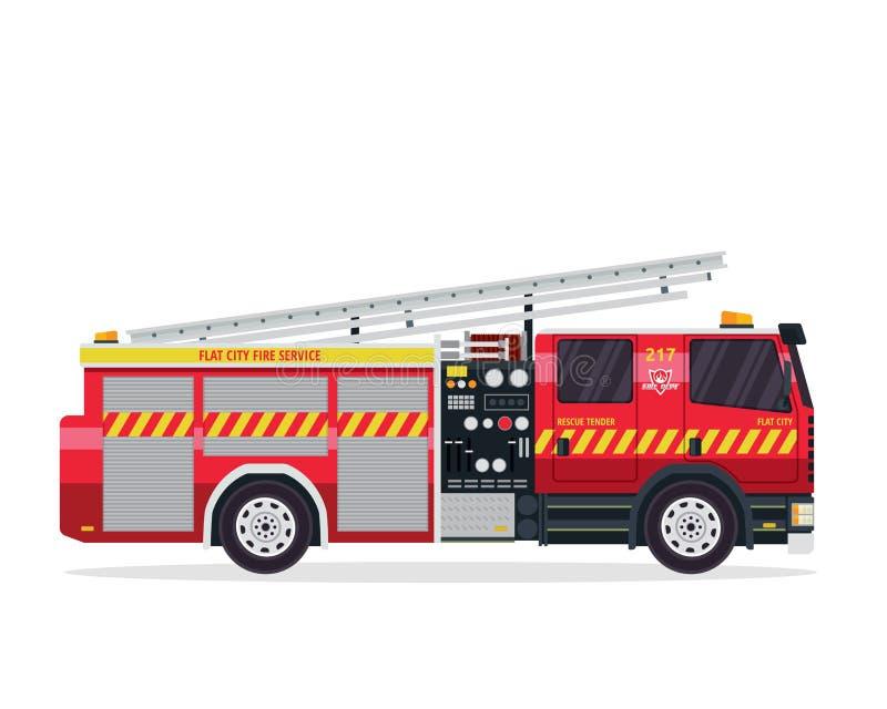 Σύγχρονη επίπεδη απεικόνιση φορτηγών πυροσβεστών απεικόνιση αποθεμάτων