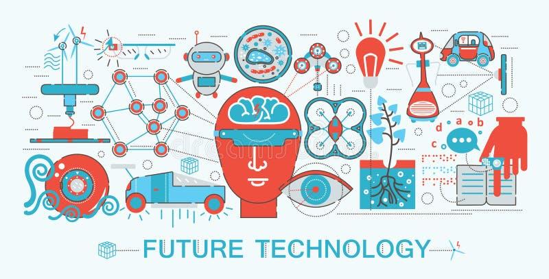 Σύγχρονη επίπεδη λεπτή γραμμών έννοια τεχνολογίας επιστήμης σχεδίου μελλοντική διανυσματική απεικόνιση