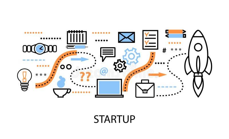 Σύγχρονη επίπεδη λεπτή διανυσματική απεικόνιση σχεδίου γραμμών, έννοιες του προγράμματος ξεκινήματος, της επιχειρησιακής στρατηγι ελεύθερη απεικόνιση δικαιώματος