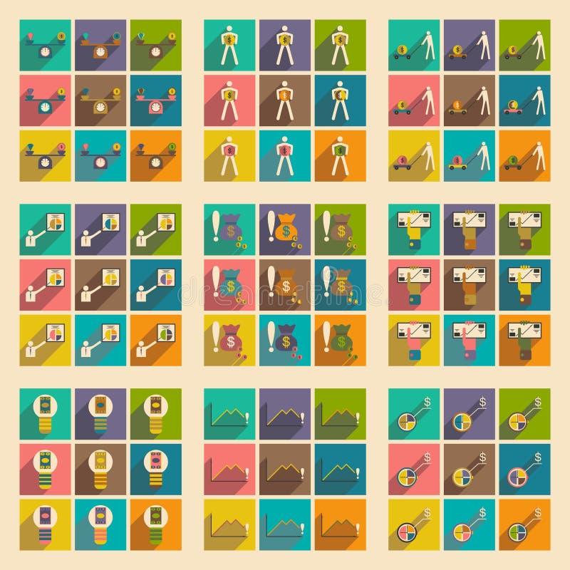 Σύγχρονη επίπεδη διανυσματική συλλογή εικονιδίων με την επιχειρησιακή οικονομία σκιών γραφική ελεύθερη απεικόνιση δικαιώματος