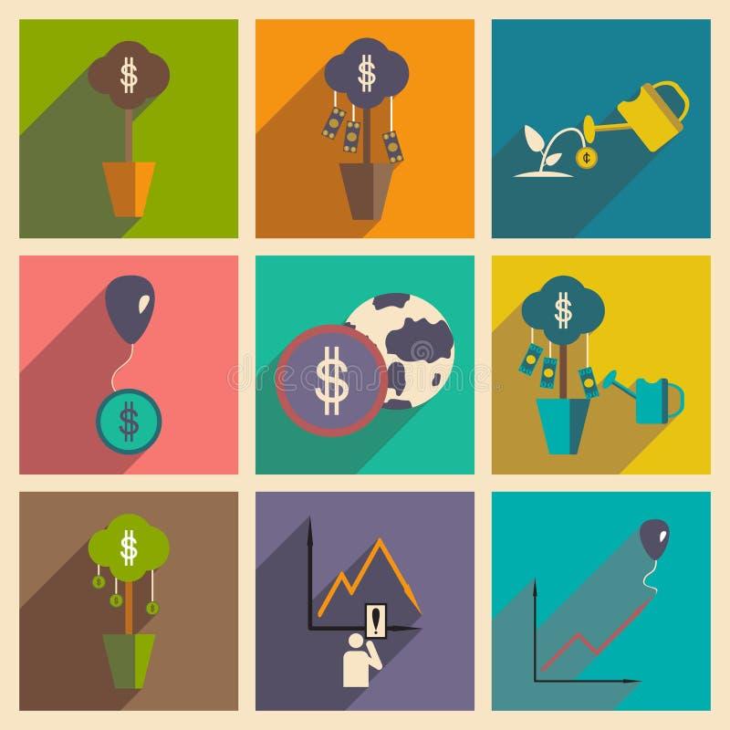 Σύγχρονη επίπεδη διανυσματική συλλογή εικονιδίων με το εισόδημα χρημάτων οικονομίας σκιών στοκ εικόνες