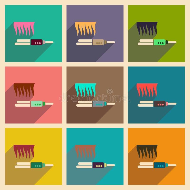 Σύγχρονη επίπεδη διανυσματική συλλογή εικονιδίων με straightener τρίχας σκιών απεικόνιση αποθεμάτων
