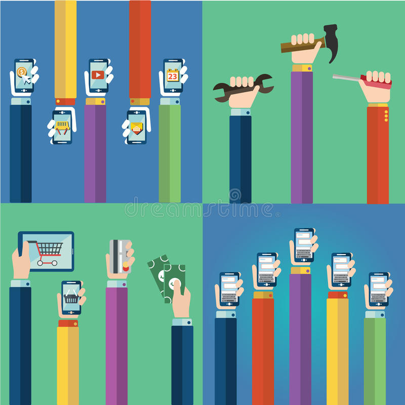 Σύγχρονη επίπεδη διανυσματική συλλογή εικονιδίων των εργαλείων, του κινητού τηλεφώνου, της ψηφιακής ταμπλέτας και άλλων συσκευών  διανυσματική απεικόνιση