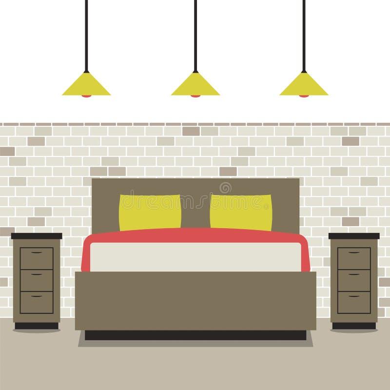 Σύγχρονη επίπεδη κρεβατοκάμαρα σχεδίου ελεύθερη απεικόνιση δικαιώματος