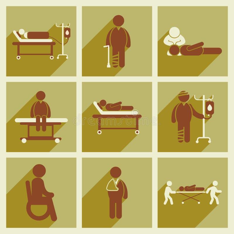 Σύγχρονη επίπεδη συλλογή εικονιδίων με τους μακριούς ασθενείς σκιών διανυσματική απεικόνιση