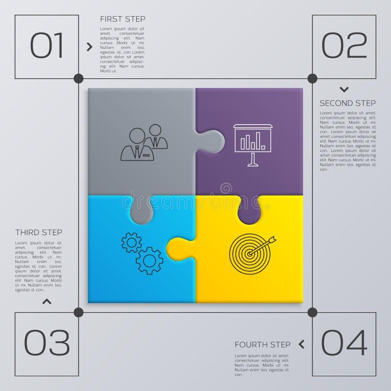Σύγχρονη επιχείρηση infographic για την παρουσίασή σας Τέσσερα βήματα στην επιτυχία η αλλαγή χρωματίζει τον εύκολο eps8 γρίφο κομ απεικόνιση αποθεμάτων