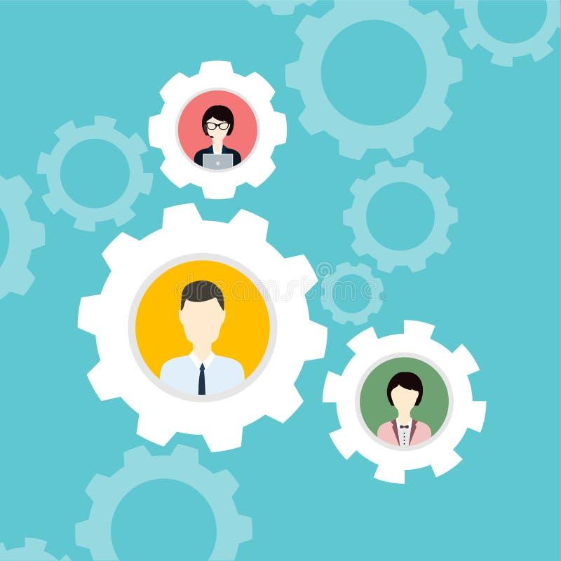 Σύγχρονη επιχειρησιακή έννοια, η ιδέα της ομαδικής εργασίας και επιτυχία επίπεδος ελεύθερη απεικόνιση δικαιώματος