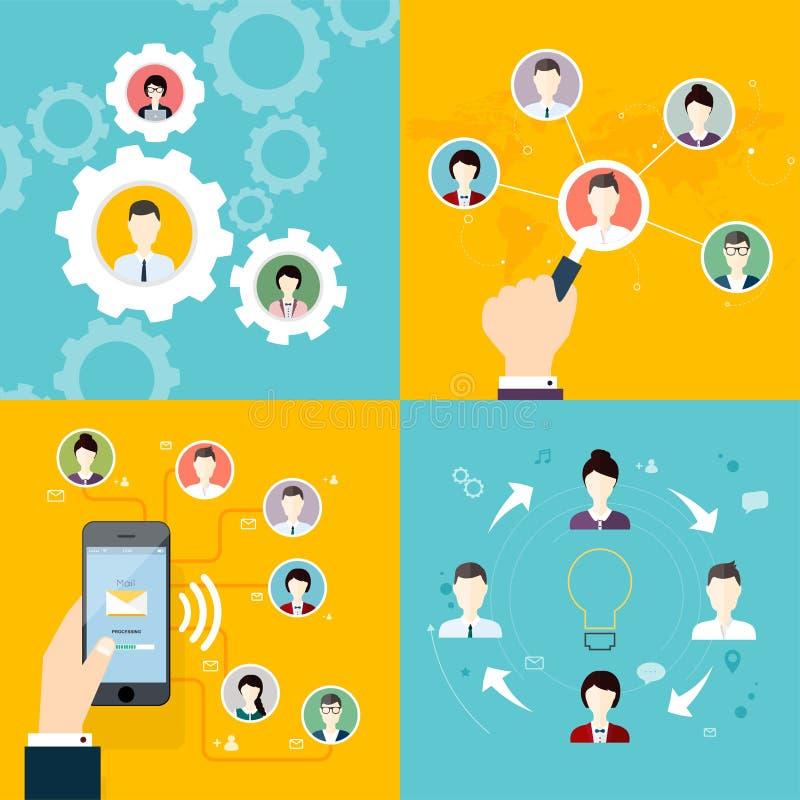 Σύγχρονη επιχειρησιακή έννοια, η ιδέα της ομαδικής εργασίας και επιτυχία απεικόνιση αποθεμάτων