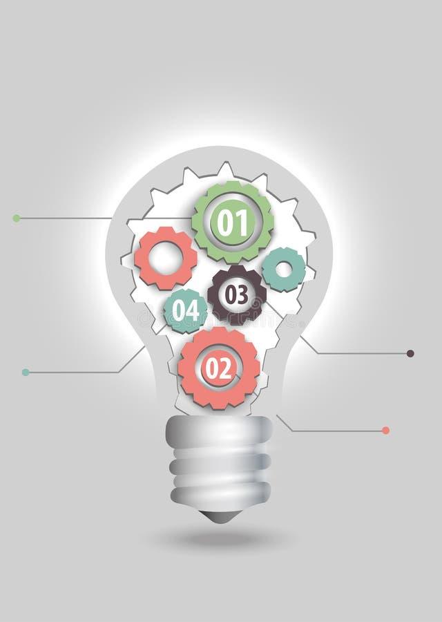 Σύγχρονη επιχειρησιακή έννοια, στοιχεία Infographic, lightbulb συστατικά των ιδεών διανυσματική απεικόνιση
