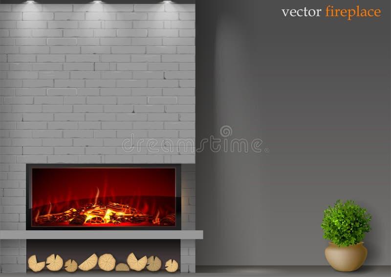 Σύγχρονη εστία με την πυρκαγιά απεικόνιση αποθεμάτων