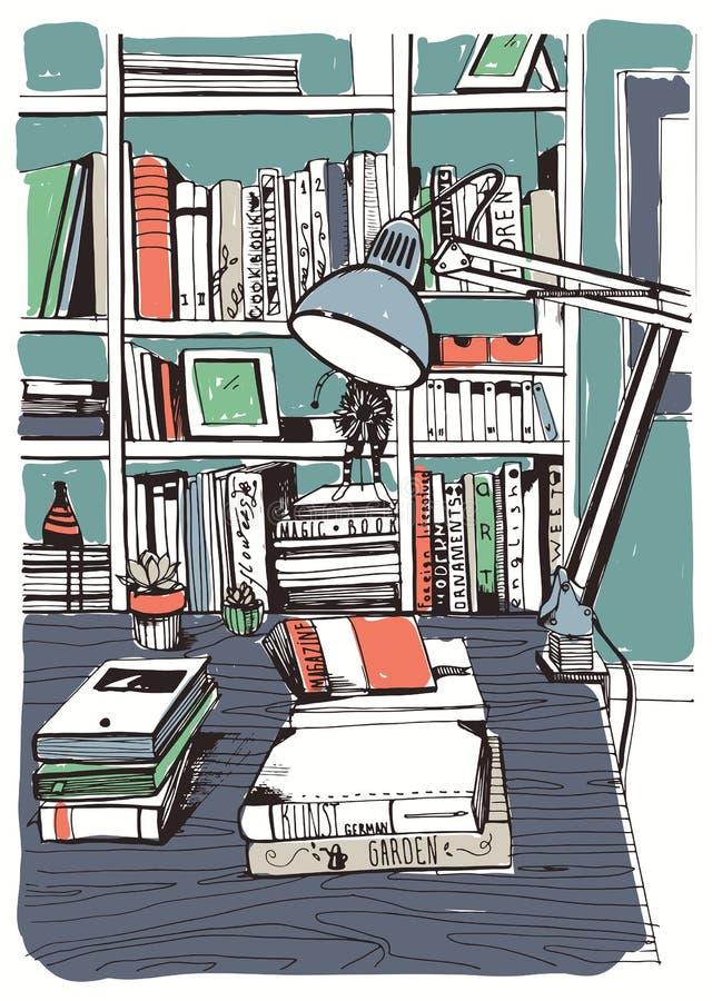 Σύγχρονη εσωτερική εγχώρια βιβλιοθήκη, ράφια, συρμένη χέρι ζωηρόχρωμη απεικόνιση σκίτσων διανυσματική απεικόνιση
