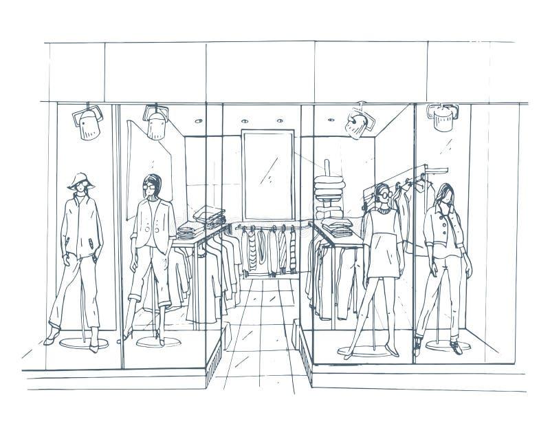 Σύγχρονη εσωτερική μπουτίκ, εμπορικό κέντρο, λεωφόρος με τα ενδύματα Απεικόνιση σκίτσων περιγράμματος ελεύθερη απεικόνιση δικαιώματος