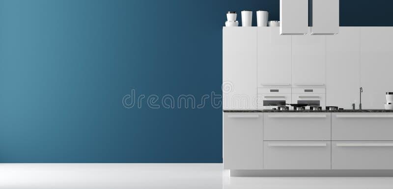 Σύγχρονη εσωτερική πανοραμική άποψη κουζινών, χλεύη τοίχων επάνω, σύγχρονο ύφος απεικόνιση αποθεμάτων