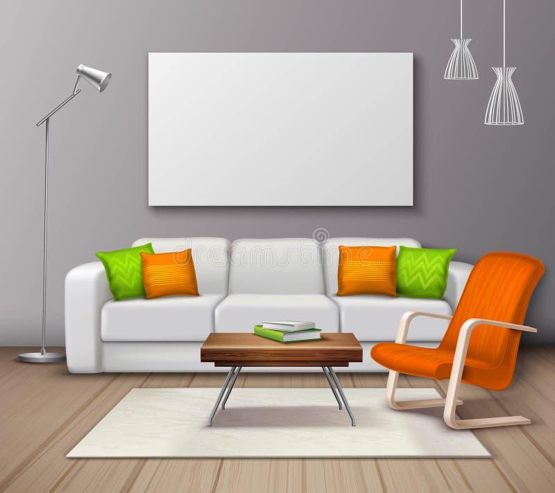 Σύγχρονη εσωτερική ρεαλιστική αφίσα προτύπων χρωμάτων διανυσματική απεικόνιση